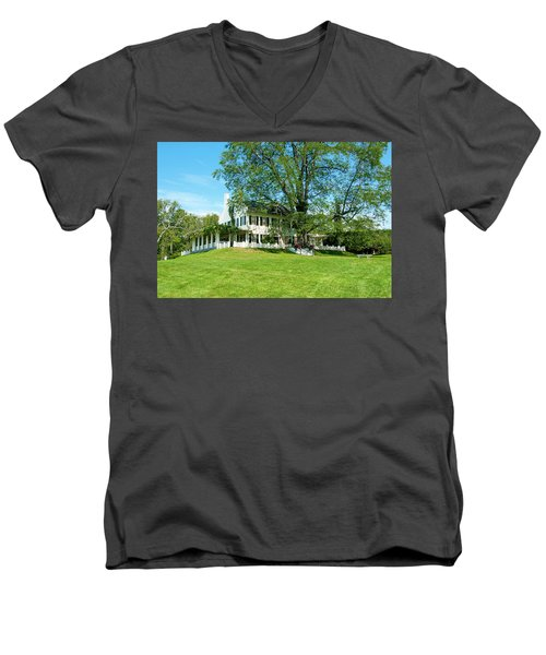 Men's V-Neck T-Shirt featuring the photograph Bit O Nh History by Greg Fortier