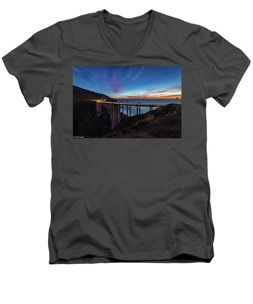 Bixby Bridge Sunset Men's V-Neck T-Shirt