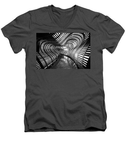 Black Abstract Hall Men's V-Neck T-Shirt