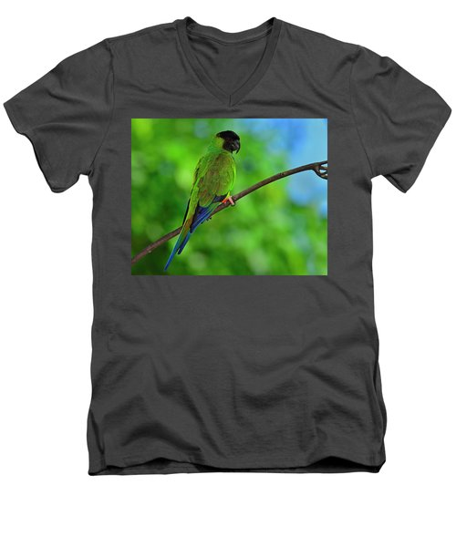 Black And Blue Men's V-Neck T-Shirt by Tony Beck