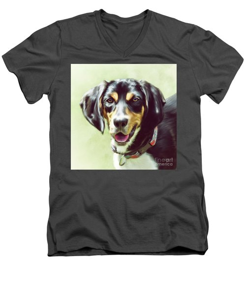 Men's V-Neck T-Shirt featuring the digital art Black And Tan by Lois Bryan