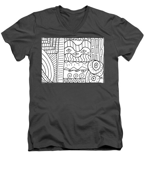 Black And White Abstract  Men's V-Neck T-Shirt by Patricia Cleasby