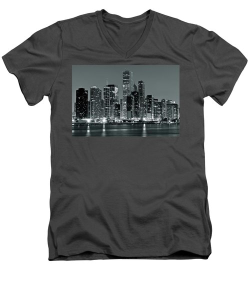 Men's V-Neck T-Shirt featuring the photograph Black And White And Grey Chicago Night by Frozen in Time Fine Art Photography