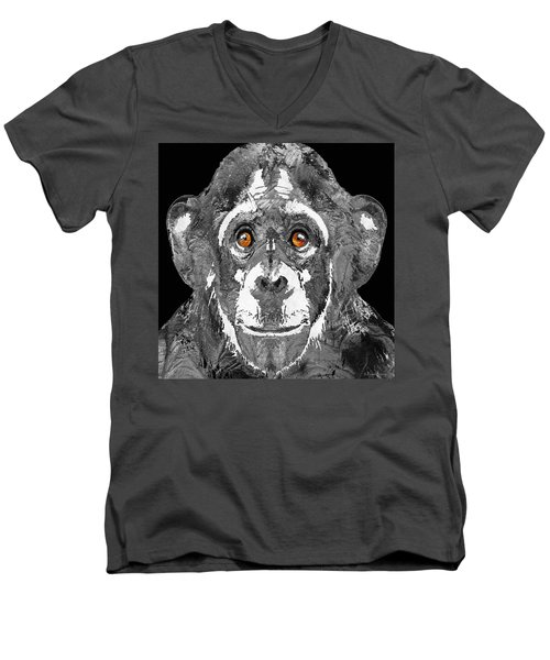 Black And White Art - Monkey Business 2 - By Sharon Cummings Men's V-Neck T-Shirt by Sharon Cummings