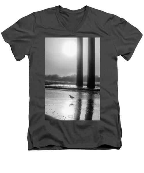 Men's V-Neck T-Shirt featuring the photograph Black And White Bird Beach by John McGraw