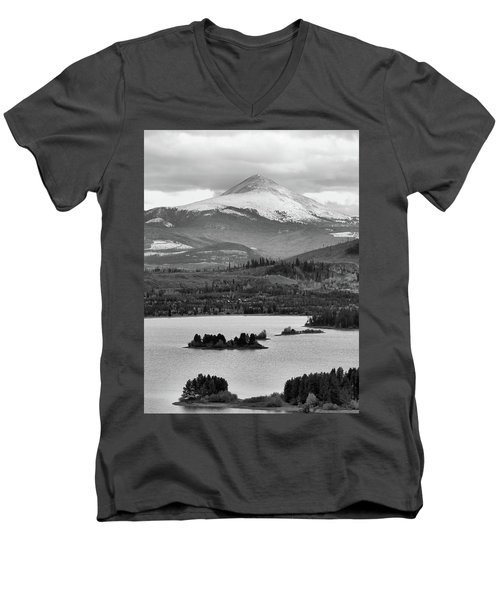 Men's V-Neck T-Shirt featuring the photograph Black And White Breckenridge by Dan Sproul