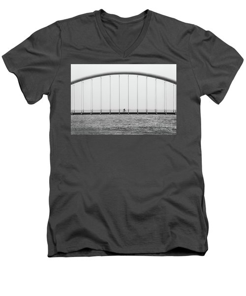 Men's V-Neck T-Shirt featuring the photograph Black And White Bridge by MGL Meiklejohn Graphics Licensing