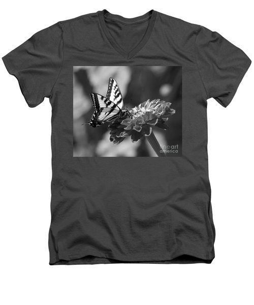 Black And White Butterfly On Zinnia Men's V-Neck T-Shirt