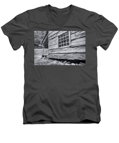 Black And White Cabin In The Forest Men's V-Neck T-Shirt