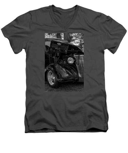 Men's V-Neck T-Shirt featuring the photograph Black And White Chevrolet by Trey Foerster