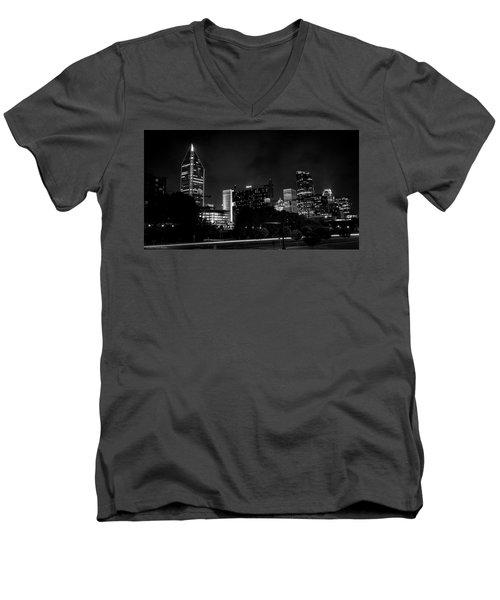 Black And White Downtown Men's V-Neck T-Shirt