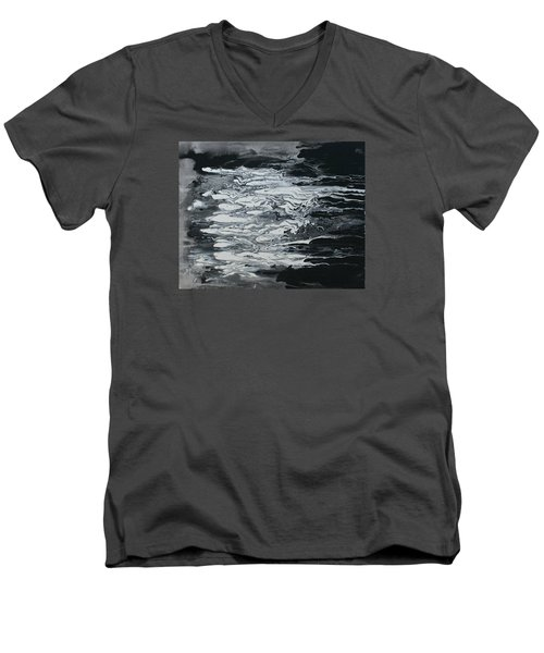 Black And White Fluid Painting Men's V-Neck T-Shirt