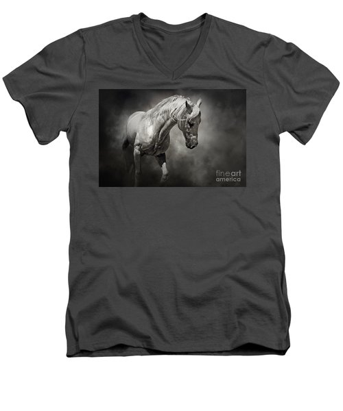 Black And White Horse - Equestrian Art Poster Men's V-Neck T-Shirt