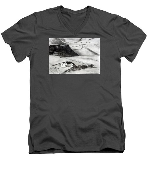 Black And White House And Hills Men's V-Neck T-Shirt
