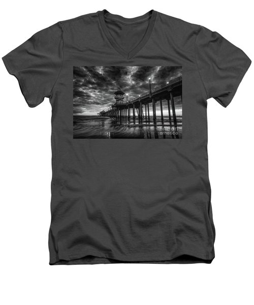 Black And White Huntington Beach Pier Men's V-Neck T-Shirt