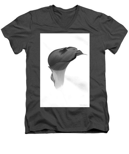 Black And White Lily 2 Men's V-Neck T-Shirt by Steven Clipperton