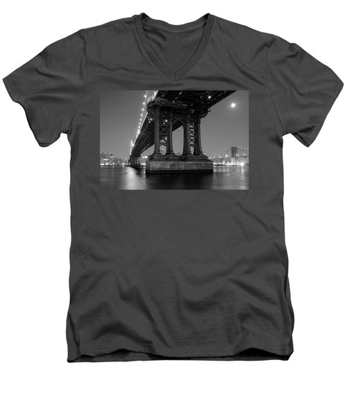 Men's V-Neck T-Shirt featuring the photograph Black And White - Manhattan Bridge At Night by Gary Heller