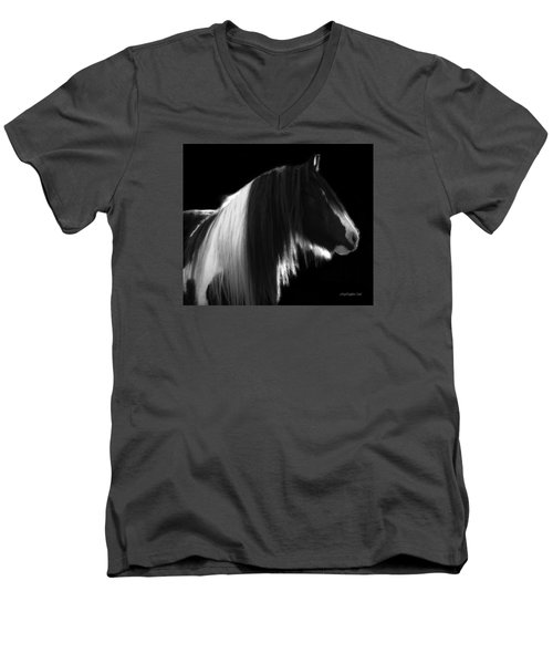 Black And White Mare Men's V-Neck T-Shirt