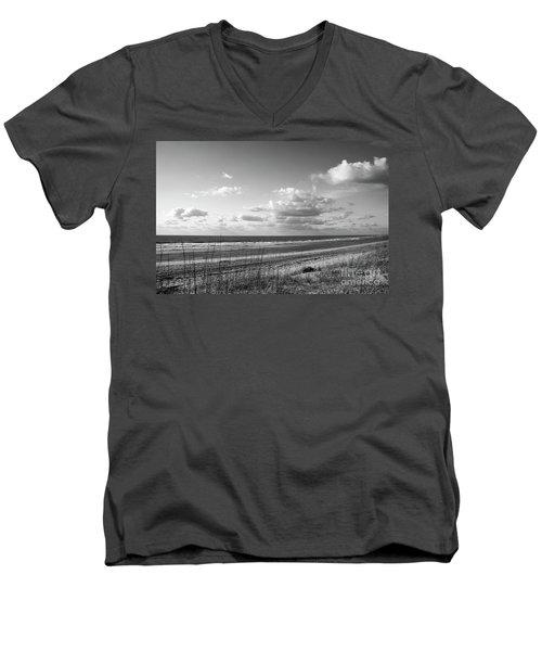 Black And White Ocean Scene Men's V-Neck T-Shirt