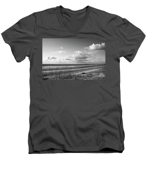 Black And White Ocean Scene Men's V-Neck T-Shirt