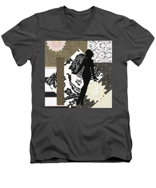 Black And White Paper Doll Men's V-Neck T-Shirt