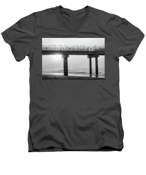 Men's V-Neck T-Shirt featuring the photograph Black And White Pier Alabama  by John McGraw