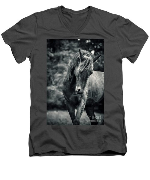 Black And White Portrait Of Horse Men's V-Neck T-Shirt