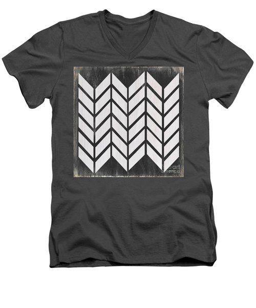 Men's V-Neck T-Shirt featuring the painting Black And White Quilt by Debbie DeWitt