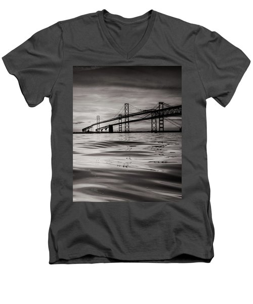 Men's V-Neck T-Shirt featuring the photograph Black And White Reflections 2 by Jennifer Casey