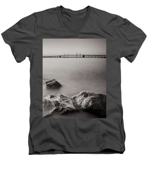 Men's V-Neck T-Shirt featuring the photograph Black And White Sandy Point by Jennifer Casey