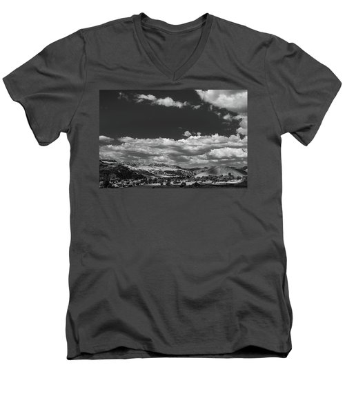 Men's V-Neck T-Shirt featuring the photograph Black And White Small Town  by Jingjits Photography