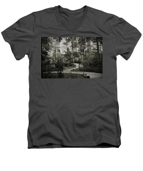 Black And White Vintage Edit -walk In Peace  Men's V-Neck T-Shirt