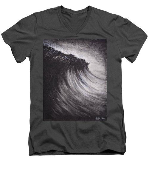 Black And White Wave Guam Men's V-Neck T-Shirt