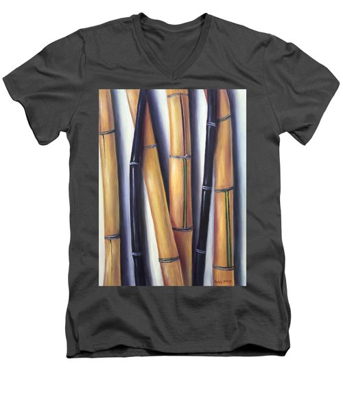Men's V-Neck T-Shirt featuring the painting Black And Gold Bamboos by Randol Burns