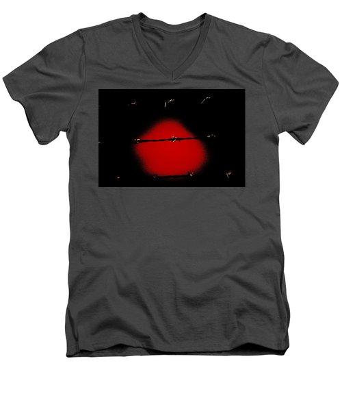 Black Barbed Wire Over Black And Blood Red Background Eery Imprisonment Scene Men's V-Neck T-Shirt