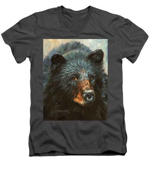 Men's V-Neck T-Shirt featuring the painting Black Bear by David Stribbling