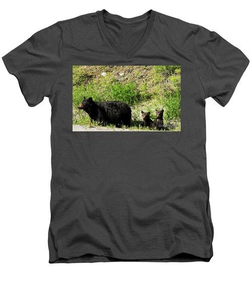 Black Bear Family Men's V-Neck T-Shirt