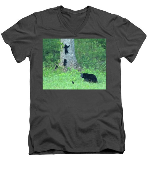 Men's V-Neck T-Shirt featuring the photograph Black Bear Sow And Four Cubs by Coby Cooper
