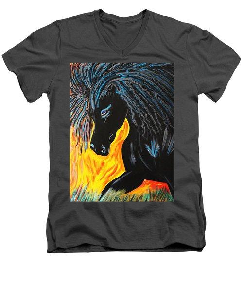 Black Beauty Men's V-Neck T-Shirt by Nora Shepley
