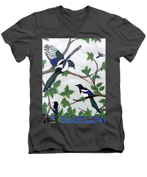 Men's V-Neck T-Shirt featuring the painting Black Billed Magpies by Teresa Wing