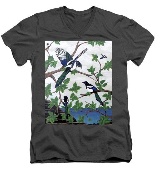 Black Billed Magpies Men's V-Neck T-Shirt