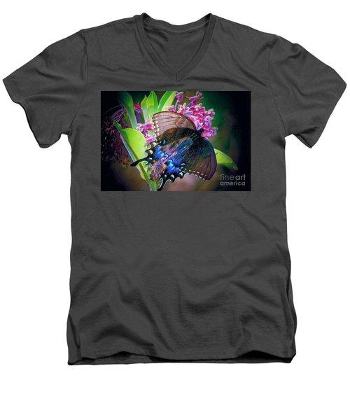 Black Blue Butterfly Men's V-Neck T-Shirt