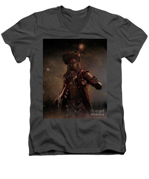 Men's V-Neck T-Shirt featuring the digital art Black Caesar Pirate by Shanina Conway