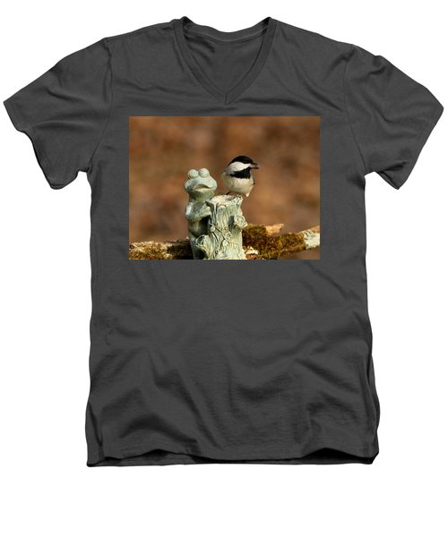Black-capped Chickadee And Frog Men's V-Neck T-Shirt by Sheila Brown