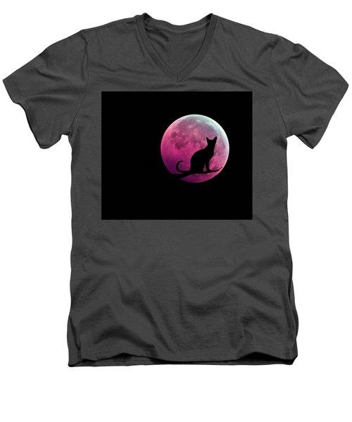 Black Cat And Pink Full Moon Men's V-Neck T-Shirt