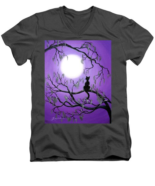 Black Cat In Mossy Tree Men's V-Neck T-Shirt by Laura Iverson