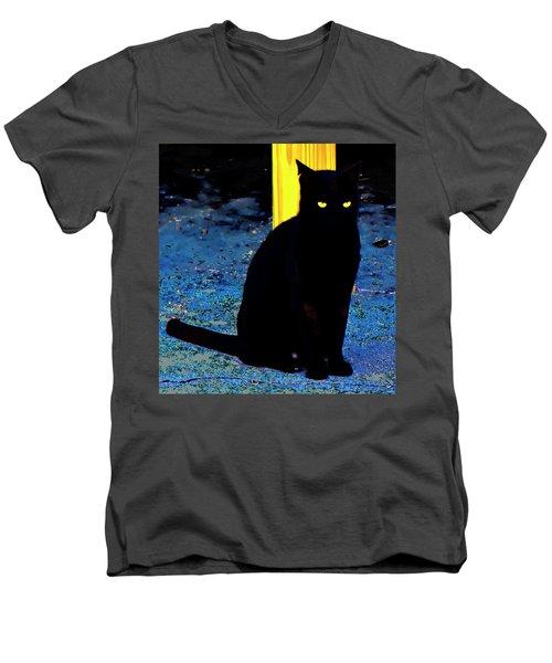 Black Cat Yellow Eyes Men's V-Neck T-Shirt by Gina O'Brien