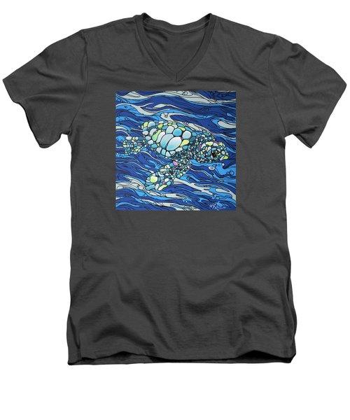Black Contour Turtle Men's V-Neck T-Shirt by William Love