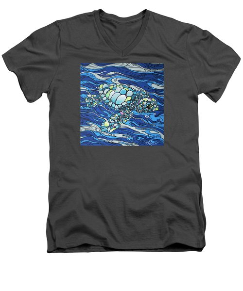 Black Contour Turtle Men's V-Neck T-Shirt
