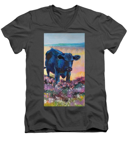 Black Cow On Dartmoor - Looking Moody Men's V-Neck T-Shirt